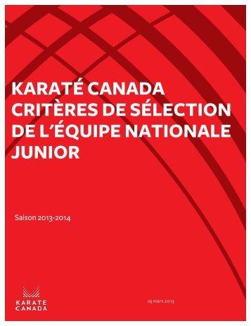 Critères de l'équipe nationale Junior 2013-2014 - Karate Canada