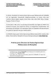 Profil du poste - Institut Agronomique Méditerranéen de Montpellier