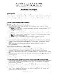 Store Manager Job Description Store Manager Job ... - Santana Row