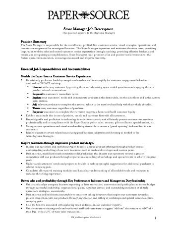 Regional Manager Role Description Essential Job    Paper Source