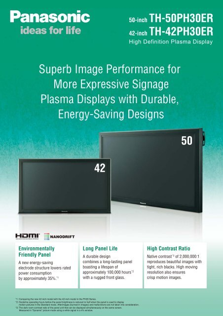 Superb Image Performance for More Expressive ... - Panasonic