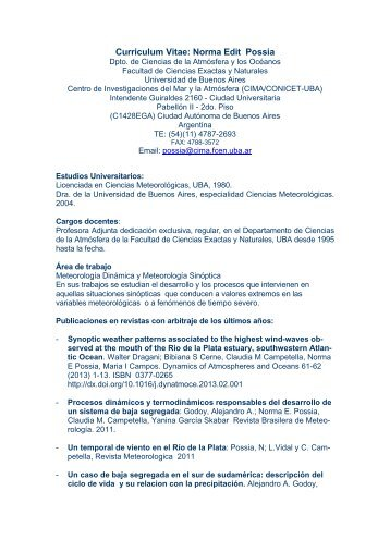 Norma Possia - Centro de Investigaciones del Mar y la Atmosfera