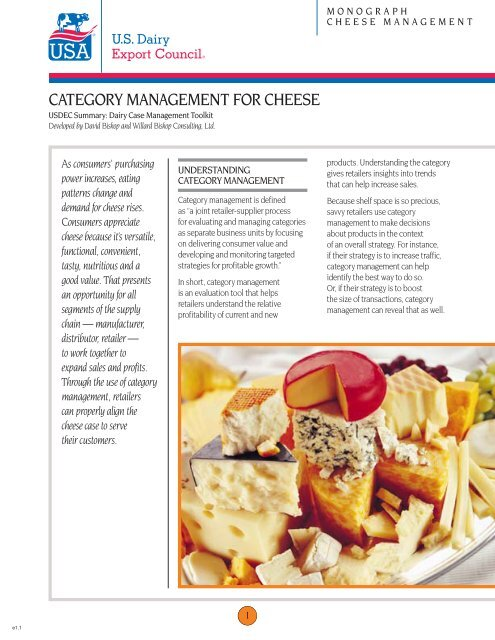 category management for cheese - US Dairy Export Council