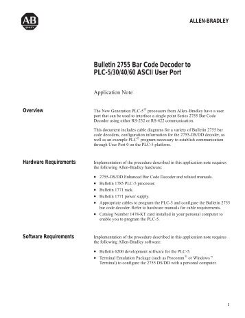 2755-2.51, Bar Code Decoder to PLC-5/30/40/60 ASCII User Port ...