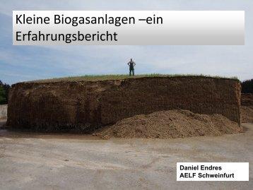 Kleine Biogasanlagen –ein Erfahrungsbericht