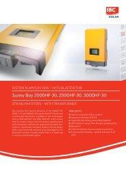 Sunny Boy 2000HF-30, 2500HF-30, 3000HF-30 - IBC Solar
