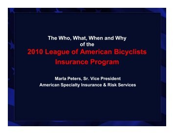 2010 League of American Bicyclists Insurance Program