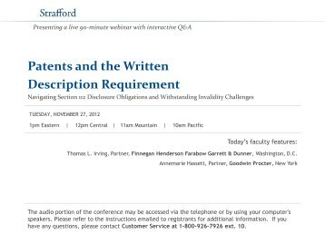 Patents and the Written Description Requirement - Strafford