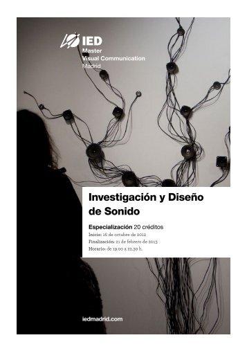 Especialización en Investigación y Diseño en Sonido - IED Madrid