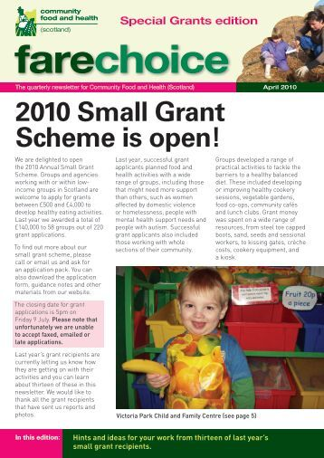 Fare Choice special grants edition 2010 - Community Food and Health