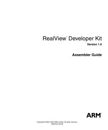 RealView Developer Kit Assembler Guide - ARM Information Center
