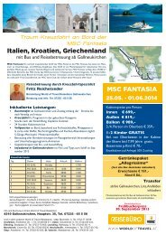 MSC FANTASIA Italien, Kroatien, Griechenland - World of Travel
