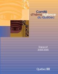 Comité d'hémovigilance du Québec-Rapport 2004-2005