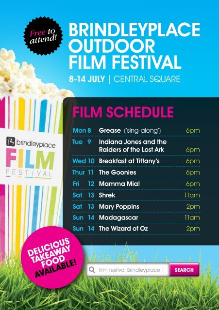 film schedule and takeaway food options - Brindleyplace
