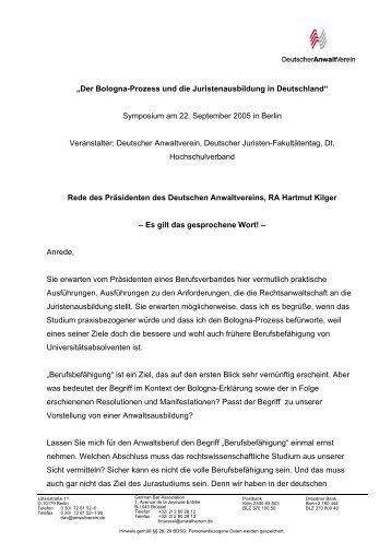 Herr RA Hartmut Kilger - Deutscher Juristen-Fakultätentag