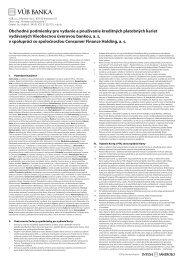 Obchodné podmienky pre vydanie a používanie ... - VÚB banka