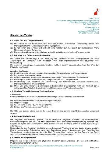 Statuten - GND Gesellschaft Nierentransplantierter und ...