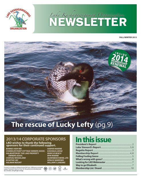 2013 Fall/Winter Newsletter - Lake Kashagawigamog Organization