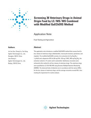 Screening 36 Veterinary Drugs in Animal Origin Food by LC/MS/MS ...