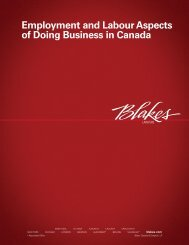 Labour and Employment Aspects of Doing Business in Canada
