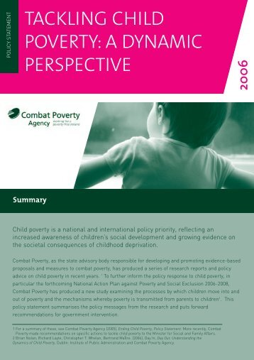 Tackling Child Poverty: a dynamic perspective (2006)