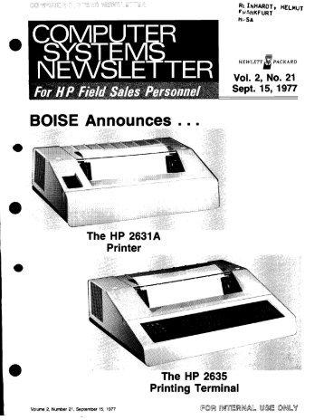 BOISE Announces =. - HP Computer Museum