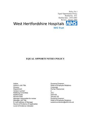 equal opportunities policy - West Hertfordshire Hospitals NHS Trust