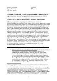 Genusforskningen vid universitet, högskolor och forskningsråd