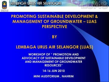 promoting sustainable development & management of groundwater