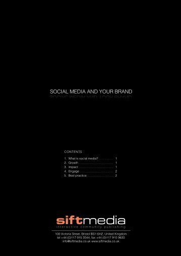 soCIal mEdIa and yoUr Brand SOCIAL MEDIA AND ... - Sift Media