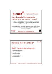 | La red mundial de taxonomía El alcance de la presentación - BioNET