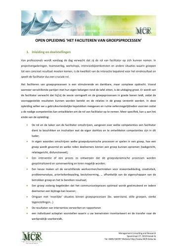 open opleiding 'het faciliteren van groepsprocessen' - Mcr Bvba