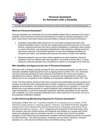 Personal Assistants for Swimmers with a Disability - USA Swimming