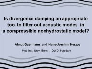 Is divergence damping an appropriate tool to filter out ... - Cosmo