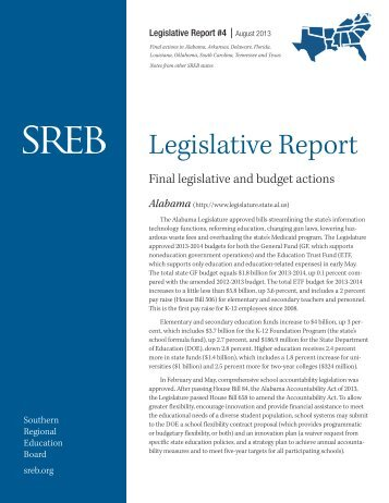 Legislative Report - Southern Regional Education Board
