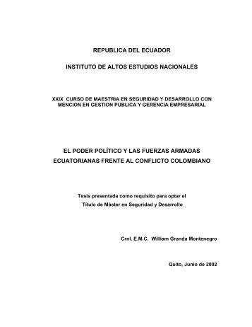 TESIS-William Granda.pdf - Repositorio Digital IAEN - Instituto de ...