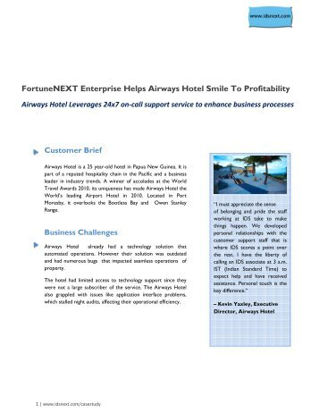 FortuneNEXT Enterprise Helps Airways Hotel Smile To ... - IDS NEXT