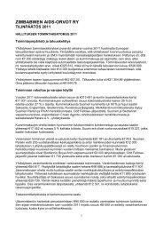 Hallituksen kertomus ja tilinpäätös 2011 - Zimbabwen Aids-Orvot ry