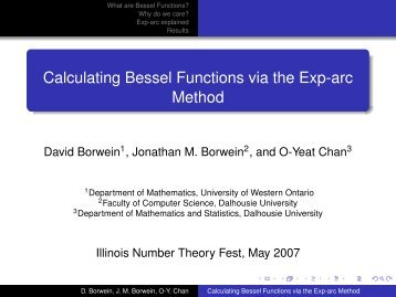 Calculating Bessel Functions - Faculty of Computer Science ...