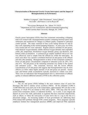 1 Characterization of Restaurant Gravity Grease Interceptors and the ...