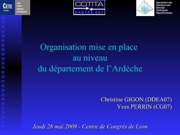 Organisation mise en place au niveau du département de l ... - CoTITA