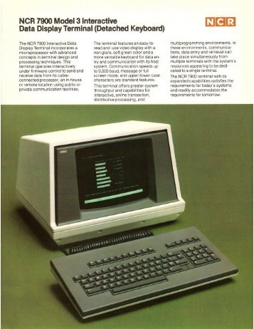 NCR 7900 Model 3 Interactive Data Display ... - The Core Memory