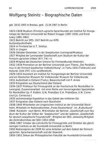 Wolfgang Steinitz – Biographische Daten - Lomonossow