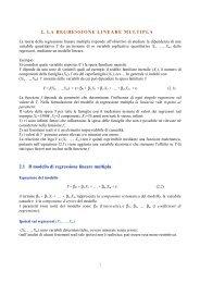 2. LA REGRESSIONE LINEARE MULTIPLA 2.1 Il modello di ...