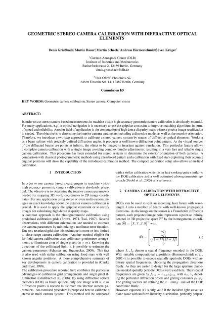 Geometric Stereo Camera Calibration with Diffractive     - ISPRS