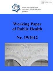Working Paper of Public Health Nr. 19/2012 - Azienda Ospedaliera ...