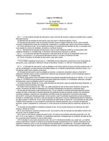 Legea 61 din 1993 alocaţia de stat pentru copii - Salvati Copiii