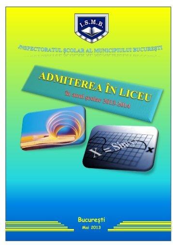 Brosura de admitere in invatamantul liceal pentru anul scolar 2013
