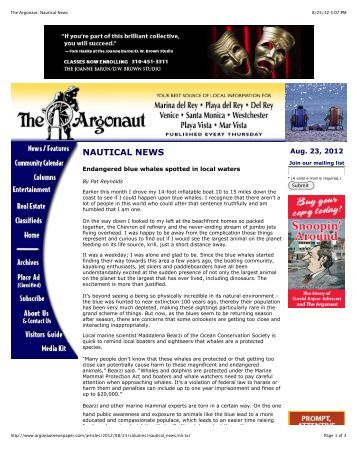 The Argonaut: Nautical News - Ocean Conservation Society
