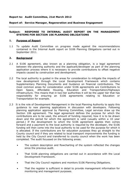 Response to Internal Audit Report on the Management Systems